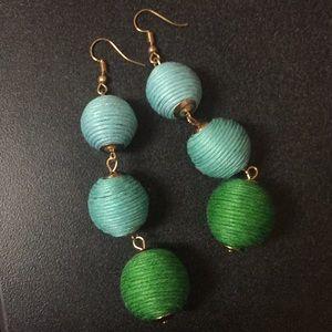 Blue/Green Ball Earrings